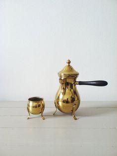Vintage Brass Teapot . Housewares . Decorative Tea Set . on Etsy, $15.00
