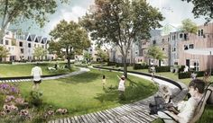Dutch firm DELVA Landscape Architects designed a shared green oasis for the city of Utrecht surrounded by rows of mansions and brick archit...