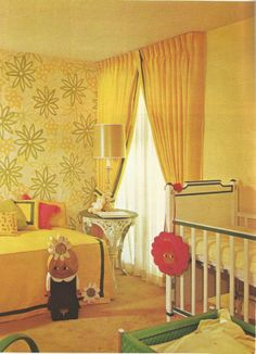 Vintage Home Decorating, 1970s window treatments. A bit scary for a nursery