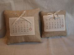 Ring Bearer Pillow with Calendar: Side by side