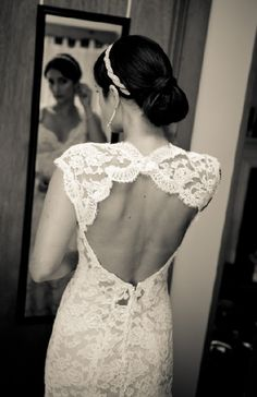 open back lace fit and flare dress, in love with this!