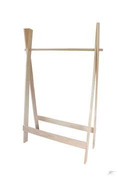 Foldaway, stylish, wooden clothes rack.