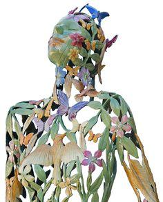 Painted bronze by Linda Brunker. Sculpture Projects, Irish, Mosaic, Spiritual, Bronze, Pottery, Detail, Gallery, Garden