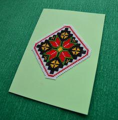 Ukrainian ornament - Valentine's Day handmade card, cross stitch card, greetings card, keepsake gifts, birthday gifts, cross stitch gifts by Rainbowstitchcross on Etsy
