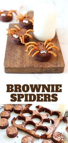 Brownie Spiders That are Spooky Good - Suburban Simplicity Hello cute Halloween Food! These Brownie Spiders make the perfect creepy crawly addition to Halloween Parties and class parties! Kids can also help make them! Halloween Brownies, Halloween Desserts, Halloween Fingerfood, Cute Halloween Food, Halloween Mignon, Halloween Treats For Kids, Fairy Halloween Costumes, Halloween Spider, Holiday Treats