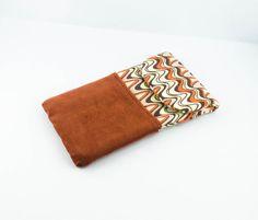 Housse/pochette/étui de téléphone portable ou lunettes tissu velours terre cuite et jersey courbes rétro/vintage