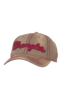 Wrangler Vintage Brown with Red Distressed Script Logo Cap | Cavender's