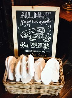 "Wedding flip flops: ""All night you have been on your feet Dancing to the music's beat But don't sit down and admit defeat Kick off your heels and enjoy this treat."""