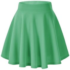 Women's Basic Solid Versatile Stretchy Flared Casual Mini Skater Skirt (32 PEN) ❤ liked on Polyvore featuring skirts, mini skirts, bottoms, short skirt, skater skirt, flared mini skirt, stretch mini skirt, green skirt, green mini skirt and circle skirts