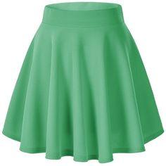 Women's Basic Solid Versatile Stretchy Flared Casual Mini Skater Skirt (65 DKK) ❤ liked on Polyvore featuring skirts, mini skirts, short skirt, skater skirt, stretchy mini skirts, short flared skirt, mini flare skirt, green mini skirt and green skirt