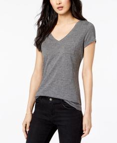 Maison Jules V-Neck Patch-Pocket T-Shirt, Created for Macy's - Gray L