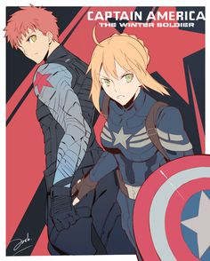 Fate/Stay Night Saber as Captain America and Shiro marvel reimagination.