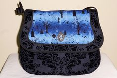 The Dark Cemetery bag on Etsy, designed by Forever Goth Time To Celebrate, Day Of The Dead, Cemetery, Saddle Bags, The Darkest, Shoulder Strap, Goth, Skull, Candy