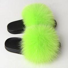 Fuzzy Slides, Cute Slides, Fluffy Shoes, Green Slippers, Slipper Sandals, Slipper Boots, Flats, Fox Fur, Womens Slippers