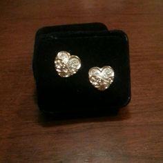 Montana heart-shaped pierced earrings Heart-shaped earrings gold and silver pierced earrings never have been worn Montana Jewelry Earrings