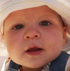 Coloured close up portrait of a toddler