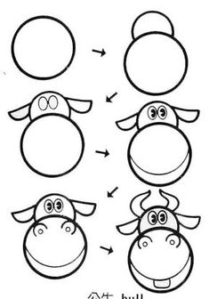 Kids how to draw cartoon cow Art Drawings For Kids, Doodle Drawings, Drawing For Kids, Cartoon Drawings, Animal Drawings, Easy Drawings, Doodle Art, Art For Kids, Drawing Lessons