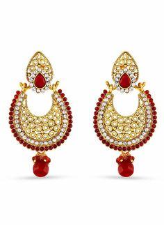 Red, Beige & Gold Artificial Jewellery Earrings