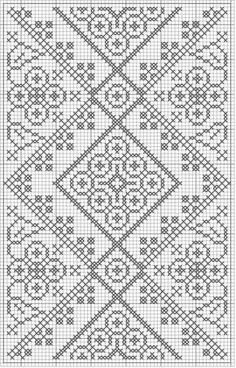 Free crochet chart could be cross stitch >>> Would be a very pretty double-sided knitting pattern! Filet Crochet, Crochet Cross, Crochet Diagram, Crochet Chart, Easy Crochet, Crochet Lace, Crochet Flower Patterns, Crochet Stitches Patterns, Embroidery Patterns