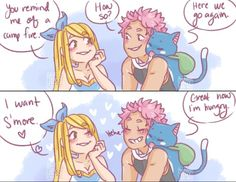 "freaky-fan-art: ""Based off THIS POST I think Lucy would make a lot of flirtatious puns "" Fairy Tail Funny, Fairy Tail Art, Fairy Tail Love, Fairy Tail Guild, Cute Fairy, Fairy Tail Ships, Fairy Tale Anime, Fairy Tales, Nalu Comics"