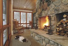 Fireplaces - In Home - Modern cabin, fireplace, dog, snow :: cozy heaven! Cozy Cottage, Cottage Style, Cottage Ideas, Cozy Cabin, Coastal Cottage, Cabin Fireplace, Fireplace Design, Fireplace Ideas, Traditional Porch