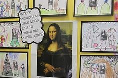 LOVE! Where would you take Mona Lisa to make her smile?  (Kinder lesson) Cute for Meet the Masters or art 'club'