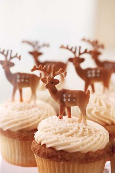 Check out the simple way Darcy added a woodland touch to ordinary cupcakes — she placed miniature plastic deer atop vanilla buttercream cupcakes from One Girl Cookies.