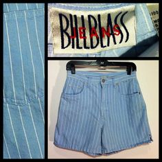 Vintage 80s Bill Blass Denim Pinstriped Shorts by BeatificVintage, $22.50