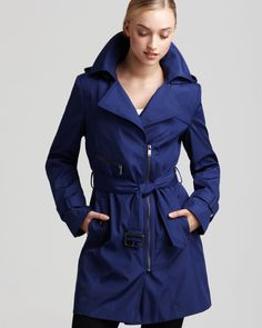 Marc New York Asymmetric Zip Belted Trench Coat.  Love the color!