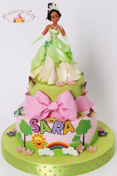 Torturi - Viorica's cakes: Tort Printesa Tiana pentru Sara Girly Birthday Cakes, Girly Cakes, Wedding Dress Cake, Wedding Dresses, Barbie Cake, Disney Dolls, Tiana, Baby Shower Cakes, Cake Art