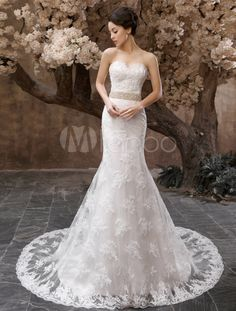 Robe mariée magnifique sirène en tulle ivoire avec perles encolure en coeur - Milanoo.com