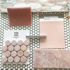 F R I D A Y F L A T L A Y The prettiest little flat lay today created by the lovely using our new micro glass dot mosaics Rosario tumbled pink marble penny rounds and Oslo Norwegian marble together. Paint finish by luxe pink velvet by Simply delicious Mood Board Interior, Interior Design Boards, Deco Design, Tile Design, Pink Tiles, Pink Bathroom Tiles, Penny Tile, Penny Round Tiles, Material Board