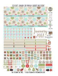 January 2017 Monthly Headers and Extras for the Vertical Erin Condren and Coiled Recollections Planners from myplannerenvy.com