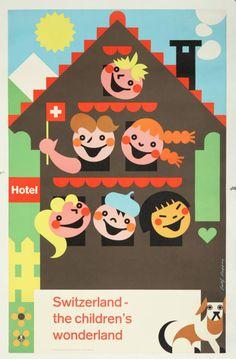Original Vintage Poster Swiss Children Pop 1960s Travel