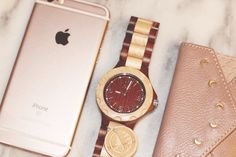 Maplewood & sandalwood JORD watch with iPhone and UrbanOutfitters cardholder
