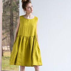 Smock linen dress / Loose linen sleeveless summer dress / Washed linen dress available in 34 colors - moda Smock Dress, Dress Up, Dress Sewing, Blouse Dress, Not Perfect Linen, Boho Fashion, Womens Fashion, Linen Dresses, Loose Dresses