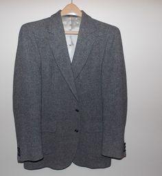VTG 1980's Pendleton 42 Long Wool Fully Lined Gray Tweed Jacket Made in USA #PendletonWool #TwoButton