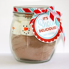 Christmas SNOW DELICIOUS Snowman Hot Cocoa Jar Tags. $3.00, via Etsy.