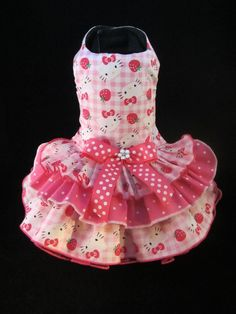 NEW Dog Dress _  Hello Kitty n Strawberrys Dog Dress XS  _Dog Clothes _Dog Tutu #HandMadebyKim