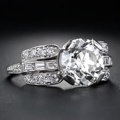2.56 Carat Diamond Art Deco Engagement Ring - 10-1-4938 - Lang Antiques