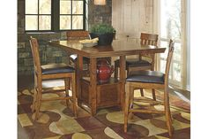 Medium Brown Ralene Counter Height Dining Room Table View 4