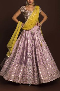 Dusky Orchid gotawork lehenga paired with mirror work blouse (unstitched) and sheer, lime net dupatta. Half Saree Designs, Lehenga Designs, Saree Blouse Designs, Dress Designs, Designer Party Wear Dresses, Indian Designer Outfits, Indian Bridal Outfits, Indian Dresses, Indian Clothes