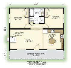 Great cottage floor plan - love the arrangement but still a little large for me. 1008 sf