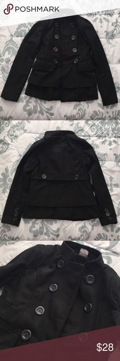 Lola Black Pea Coat - Size S NWOT. Black Pea Coat from Lola in Size Small. Triple button detail on both sleeves. Pockets on both sides. Thick material - perfect for the winter season. Sorry, some lint throughout jacket from storage. No trades or Paypal transactions. Lola Jackets & Coats Pea Coats