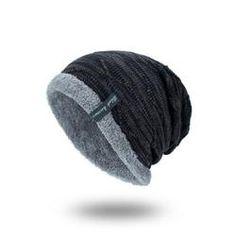 c3081df061877 Mens Plus Velvet Knitted Stripe Beanie Warm Hats Vintage Boots