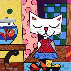"""Romero Britto: Good Friends 2007 Giclee on canvas Hand embellished by Romero Britto 26"""" x 26"""" Editon of 100"""