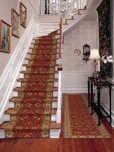 Persian Garden runner. I like this with antique brass rods. Not sure if it should be taken to last step or floor. Should foyer rug match?