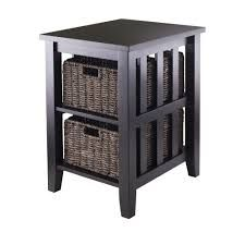 Winsome Wood 92312 Morris Side Table with Two Foldable Baskets This Winsome Wood Side Table is available in an espresso finish. The Morris Side Table Decor, Winsome Wood, Wood End Tables, Wooden Side Table, Storage Baskets, Side Table Wood, Composite Wood, Winsome, Accent Side Table