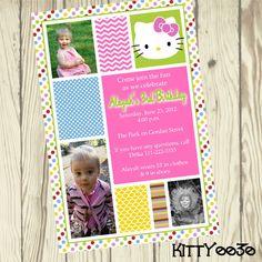 Hello Kitty  Custom Printable Digital Photo by TripleSDesigns, $10.00 Hello Kitty Invitations, Cat Party, Birthday Party Invitations, My Etsy Shop, Printables, Digital, Handmade Gifts, Fun, Shower