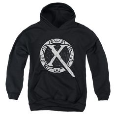 Xena/Sigil Youth Pull-Over Hoodie in Black Age: Kids Gender: Boys, Girls Style: Hoodie Material: Cotton, Polyester Pattern: Graphic Care Instruction: Machine Wash Size: S, L, M, XL Color: Black Measur